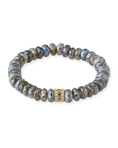 Sydney Evan 14k Mixed-Cut Diamond Labradorite Bracelet