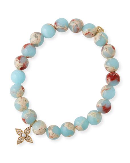 Sydney Evan 14k Pearl Paisley Flower Jasper-Bead Bracelet