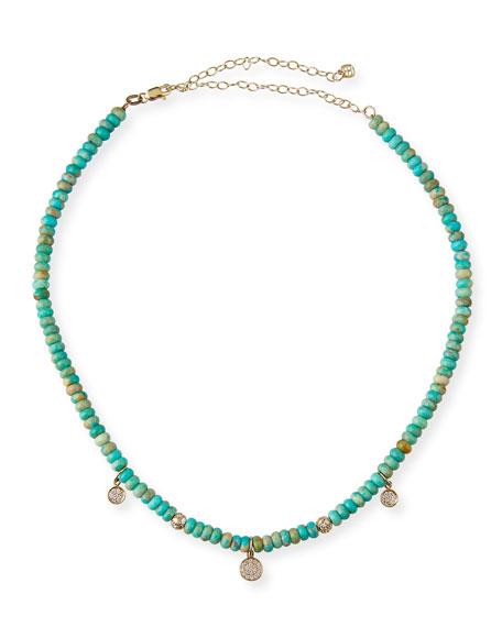Sydney Evan 14k Diamond Baby Charm Turquoise Necklace