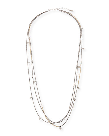 Brunello Cucinelli Silver & Riverstone 3-Strand Necklace