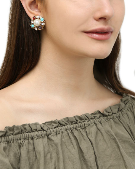 Ben-Amun Stone & Pearly Clip-On Earrings