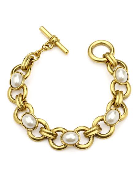 Ben-Amun Pearly Chain-Link Bracelet