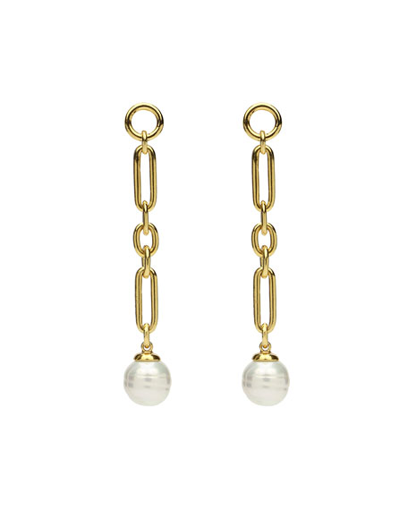 Image 1 of 2: Ben-Amun Pearly Chain-Drop Earrings
