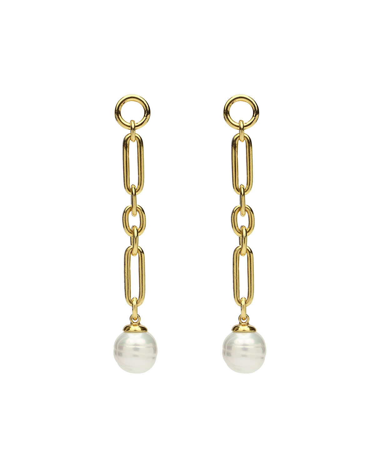 Ben-Amun Pearly Chain-Drop Earrings