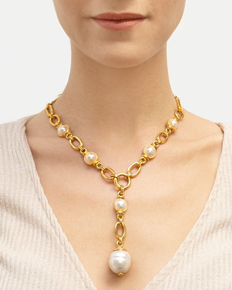 Ben-Amun Pearly Chain-Link Y-Necklace