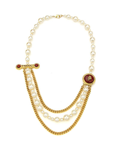 Layered Pearly Chain Statement Necklace