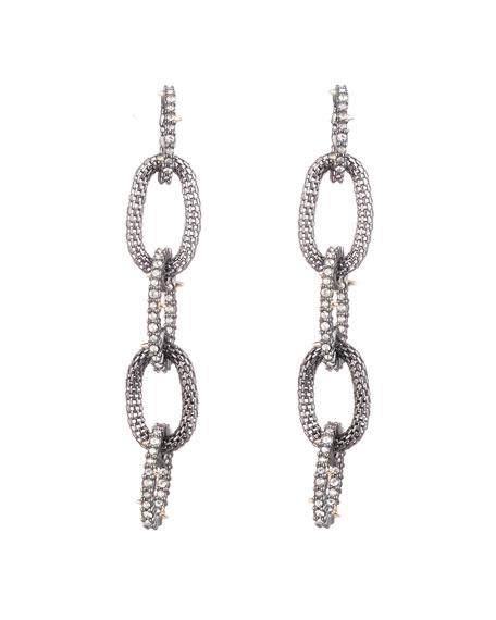 Alexis Bittar Crystal Encrusted Mesh Chain Link Earrings