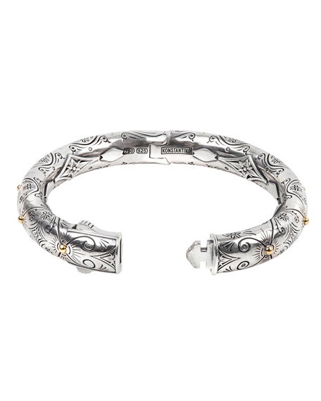 Konstantino Delos Two-Tone Engraved Hinge Bracelet, Size M