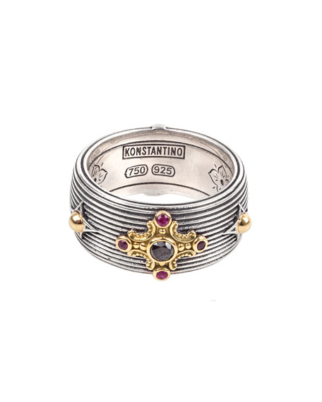 Konstantino Delos Black Diamond & Ruby Cigar Band Ring, Size 7