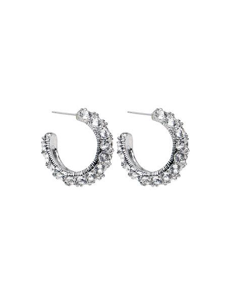 Ben-Amun Crystal Hoop Earrings, Silver