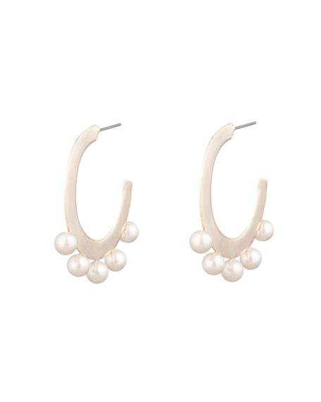Image 2 of 3: Alexis Bittar Pearl Studded Sheet Hoop Earrings