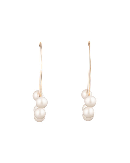 Image 1 of 3: Alexis Bittar Pearl Studded Sheet Hoop Earrings