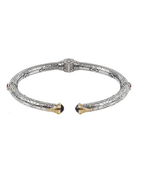 Konstantino Delos Hinged Corundum & London Blue Topaz Bracelet, Size M