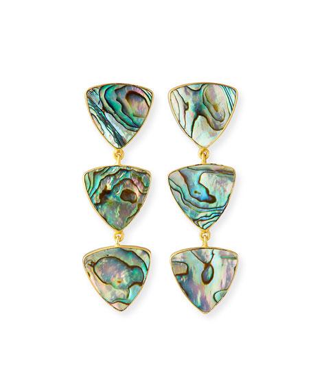 Dina Mackney Linear 3-Drop Abalone Earrings
