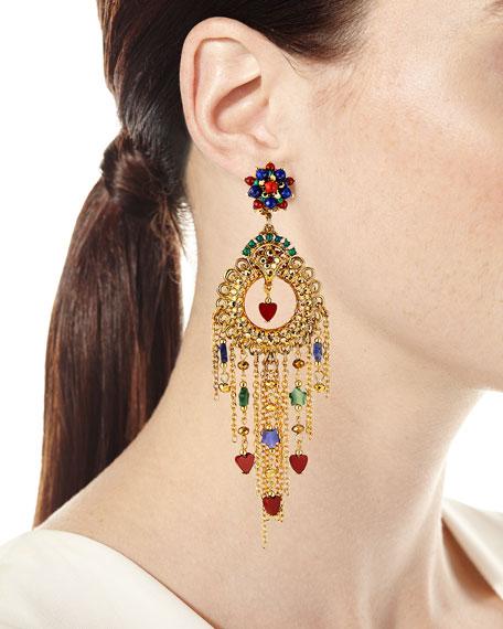 Jose & Maria Barrera Filigree Long Fringe Clip Earrings