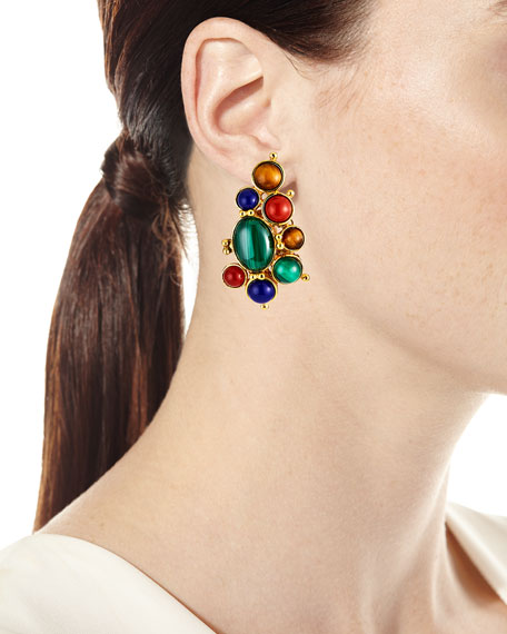 Jose & Maria Barrera Bezel-Cabochon Clip Earrings