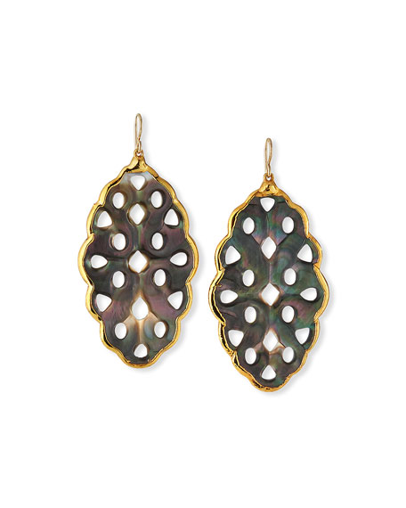 Devon Leigh Black Mother-of-Pearl Foil-Wrap Earrings