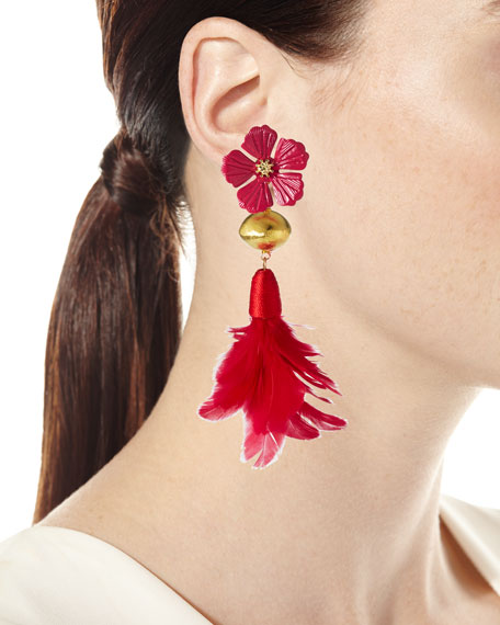 Devon Leigh Hibiscus Feather-Drop Earrings