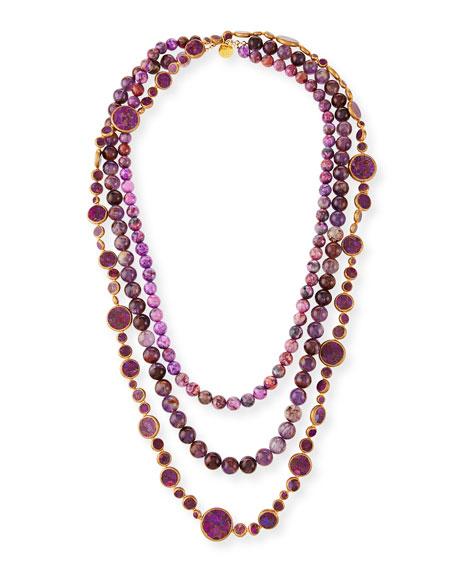 Devon Leigh Tiered 3-Strand Bead Necklace, Pink