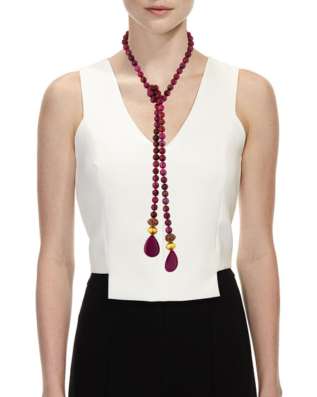Devon Leigh Beaded Long Lariat Necklace, Pink