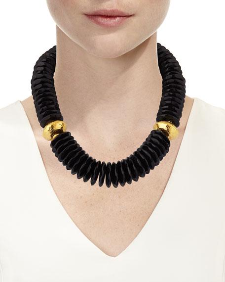 Devon Leigh Black Horn Disc Necklace