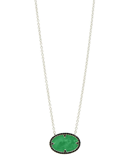 Freida Rothman Industrial Finish Oval Pendant Green Agate Necklace