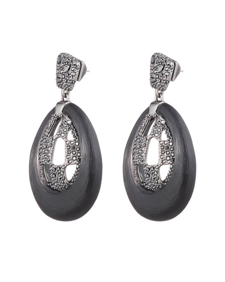 Alexis Bittar Pave Checkerboard Post Drop Earrings, Black