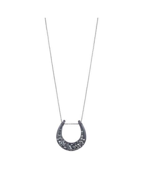 Alexis Bittar Noir Dust Horseshoe Pendant Necklace, Black
