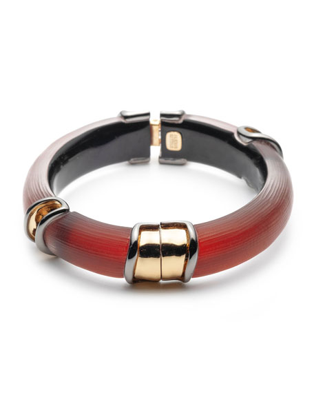 Alexis Bittar Two-Tone Sectioned Hinge Bracelet, Wine