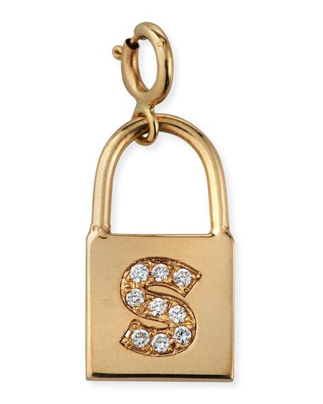 Zoe Chicco 14k Small Padlock Charm w/ Diamond Initial