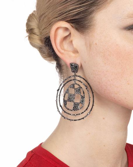 Alexis Bittar Pave Checkerboard Orbiting Post Earrings, Black
