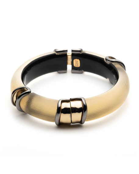 Alexis Bittar Two-Tone Sectioned Hinge Bracelet, Gold