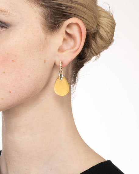 Alexis Bittar Tear Drop Crystal Post Earrings, Gold
