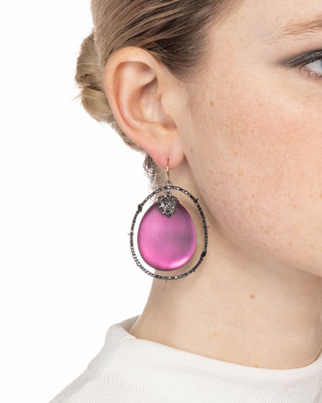 Alexis Bittar Crystal Orbiting Drop Wire Earrings, Red
