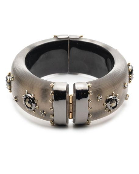 Alexis Bittar Georgian Stone Studded Hinge Bracelet, Gray