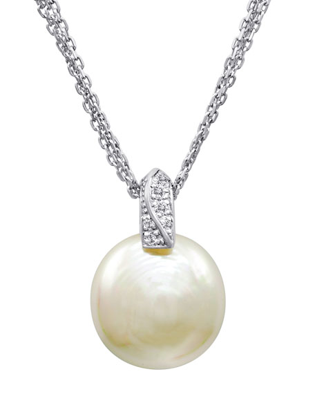 Majorica 15mm Pearl Coin Pendant Necklace w/ Cubic Zirconia