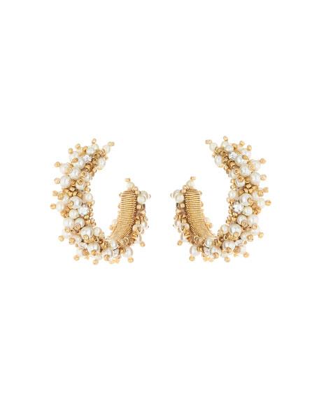 Oscar de la Renta Small Bead Cluster Hoop Earrings