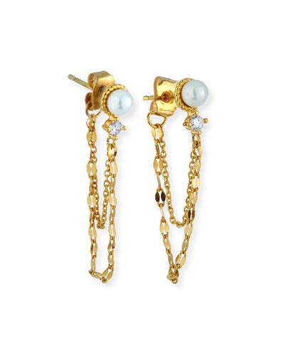 Pearl-Stud Chain Earrings w/ Cubic Zirconia