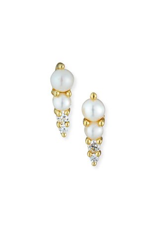 Tai Pearl Stud Earrings w/ Cubic Zirconia