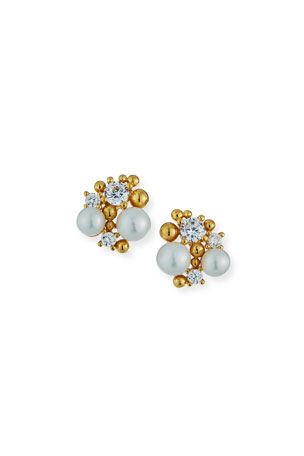 Tai Pearl Cluster Earrings w/ Cubic Zirconia