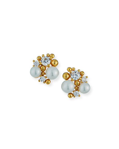 Image 1 of 2: Tai Pearl Cluster Earrings w/ Cubic Zirconia