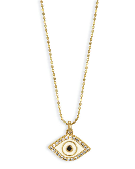 Sydney Evan 14k Enamel Diamond Evil Eye Pendant Necklace