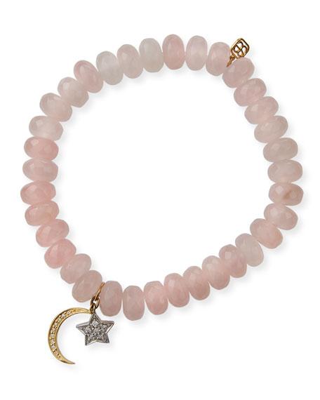 Sydney Evan 14k Diamond Star & Moon Rose Quartz Bracelet