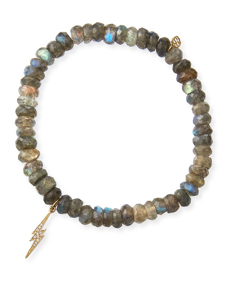 Sydney Evan 14k Diamond Bolt & Labradorite Bracelet