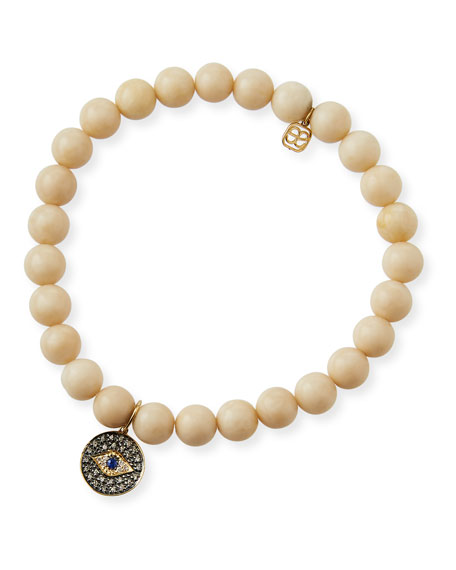 Sydney Evan 14k Diamond/Sapphire Evil Eye & Coral Bracelet