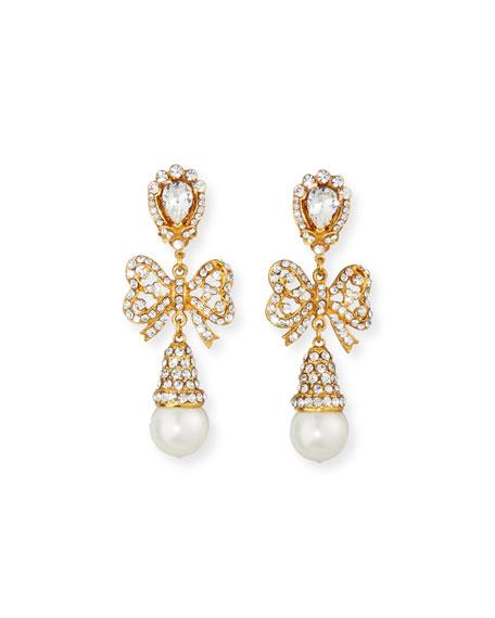 Jose & Maria Barrera Crystal Bow Pearly Drop Earrings