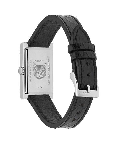 Gucci 21x34mm G-Frame Web Watch w/ Ayers Strap, Black