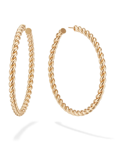 LANA 14k Braided Hollow Hoop Earrings