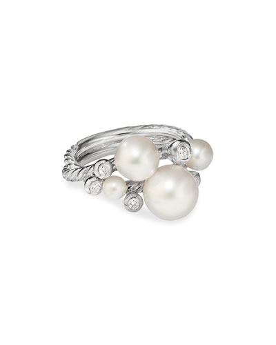 Pearl & Diamond Cluster Ring  Size 9