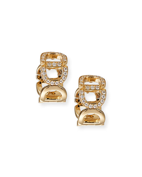 Sydney Evan 14k Diamond Chain-Link Huggie Earrings